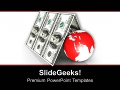 Globe Under Dollar Roof Business Concept PowerPoint Templates Ppt Backgrounds For Slides 0313