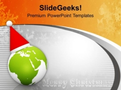 Globe With Santa Cap On Grey Background PowerPoint Templates Ppt Backgrounds For Slides 0113
