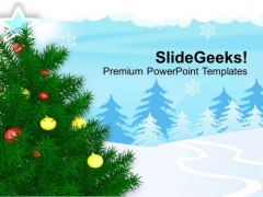 Glowing Christmas Tree In Snow PowerPoint Templates Ppt Backgrounds For Slides 1212