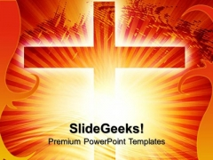 Glowing Cross Sunset PowerPoint Templates And PowerPoint Themes 0712