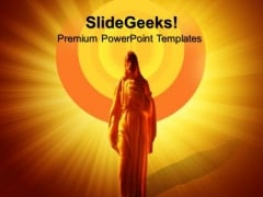 Glowing Jesus Statue Christian PowerPoint Templates And PowerPoint Themes 0812