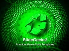 Glowing Recycle Spiral Environment PowerPoint Themes And PowerPoint Slides 0611