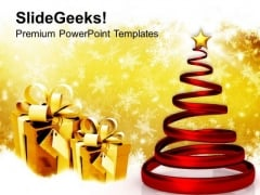 Glowing Spiral Christmas Tree Festival PowerPoint Templates Ppt Background For Slides 1112