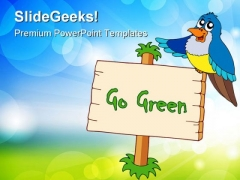 Go Green With Blue Bird Animals PowerPoint Themes And PowerPoint Slides 0811