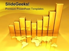 Gold Chart Business PowerPoint Template 0810