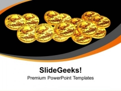 Gold Coins Scattered On Black Background PowerPoint Templates Ppt Backgrounds For Slides 0213