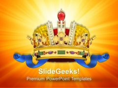 Gold Crown With Jewels Symbol PowerPoint Templates And PowerPoint Themes 0712