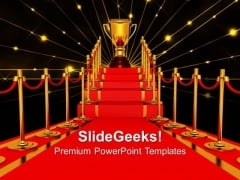 Gold Cup Of The Winner On A Red Carpet Path Award Templates And PowerPoint Themes 1012