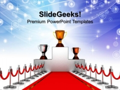 Gold Cup Red Carpet Path Competition PowerPoint Templates And PowerPoint Themes 1012