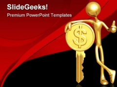 Gold Dollar Coin Key Finance PowerPoint Themes And PowerPoint Slides 0511