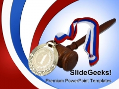 Gold Medal And Judge Gavel Law PowerPoint Background And Template 1210