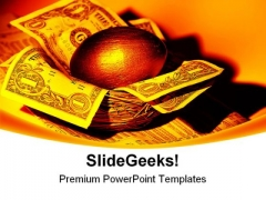 Gold Nest Egg Money PowerPoint Backgrounds And Templates 1210