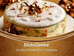 Gold Theme Christmas Cake Festival PowerPoint Templates And PowerPoint Backgrounds 0311