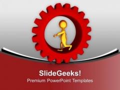 Golden 3d Man Running In Gear PowerPoint Templates Ppt Backgrounds For Slides 0713