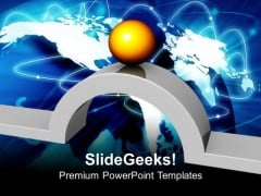 Golden Ball And Bridge Business PowerPoint Templates And PowerPoint Themes 0912
