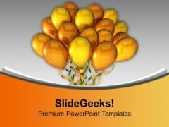 Golden Balloons With Celebration Theme PowerPoint Templates Ppt Backgrounds For Slides 0313