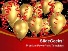 Golden Balloons With Ribbons Festival PowerPoint Templates And PowerPoint Backgrounds 0611