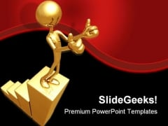 Golden Bar Graph Business PowerPoint Themes And PowerPoint Slides 0411
