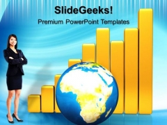 Golden Bar Graph With Globe Business PowerPoint Templates And PowerPoint Themes 0712