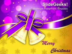 Golden Bells Christmas Theme PowerPoint Templates Ppt Backgrounds For Slides 1212