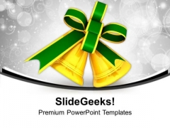 Golden Bells With Green Ribbon PowerPoint Templates Ppt Backgrounds For Slides 0113