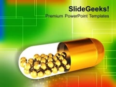 Golden Capsule With Balls Medical Theme PowerPoint Templates Ppt Backgrounds For Slides 0413