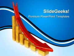 Golden Chart With Falling Red Arrow Sales PowerPoint Themes And PowerPoint Slides 0411