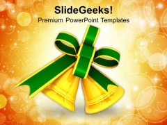 Golden Christmas Bells Holidays PowerPoint Templates Ppt Backgrounds For Slides 1212
