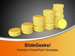 Golden Coins Arranged As Bar Graph PowerPoint Templates Ppt Backgrounds For Slides 0213