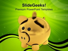 Golden Coins Falling Into Money Bank PowerPoint Templates Ppt Backgrounds For Slides 0313