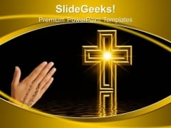 Golden Cross Christianity PowerPoint Templates And PowerPoint Themes 0712