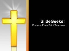 Golden Cross Religion Signs Christmas PowerPoint Templates Ppt Backgrounds For Slides 1212