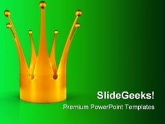 Golden Crown Metaphor PowerPoint Backgrounds And Templates 0111