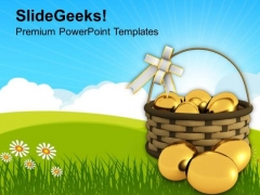Golden Easter Eggs In Basket Tradition PowerPoint Templates Ppt Backgrounds For Slides 0313