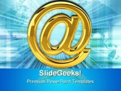 Golden Email Sign Internet PowerPoint Templates And PowerPoint Backgrounds 0111