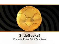 Golden Football For Game Theme PowerPoint Templates Ppt Backgrounds For Slides 0413