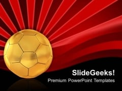 Golden Football On Red Abstract Background PowerPoint Templates Ppt Backgrounds For Slides 0713