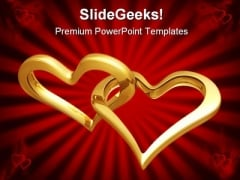 Golden Heart Beauty PowerPoint Background And Template 1210