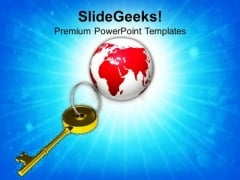 Golden Key And Planet Earth PowerPoint Templates Ppt Backgrounds For Slides 0113