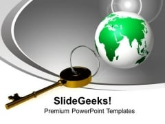 Golden Key And Planet Global Field Business PowerPoint Templates Ppt Backgrounds For Slides 0113