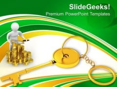 Golden Key Chain Finance Concept PowerPoint Templates Ppt Backgrounds For Slides 0213