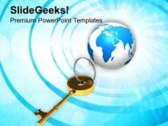 Golden Key Chain With Earth Globe PowerPoint Templates And PowerPoint Themes 1112