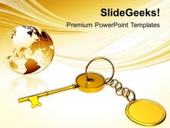 Golden Key Chain With Globe PowerPoint Templates Ppt Backgrounds For Slides 0113