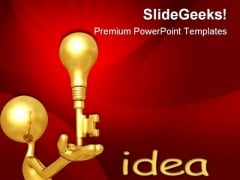 Golden Key Idea Business PowerPoint Themes And PowerPoint Slides 0611