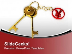 Golden Key Tied To Yen Japan Currency PowerPoint Templates Ppt Backgrounds For Slides 0313