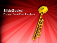 Golden Key To Success Red Background PowerPoint Templates Ppt Backgrounds For Slides 0213