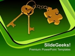 Golden Key With Puzzle Piece Security PowerPoint Templates And PowerPoint Themes 0912