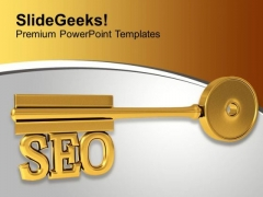 Golden Key With Word Seo Finance Marketing PowerPoint Templates Ppt Backgrounds For Slides 0113