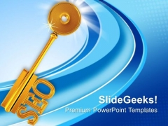 Golden Key With Word Seo Shapes PowerPoint Templates Ppt Backgrounds For Slides 0113