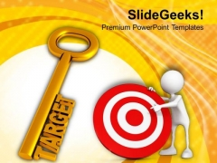 Golden Key With Word Target PowerPoint Templates Ppt Backgrounds For Slides 0113